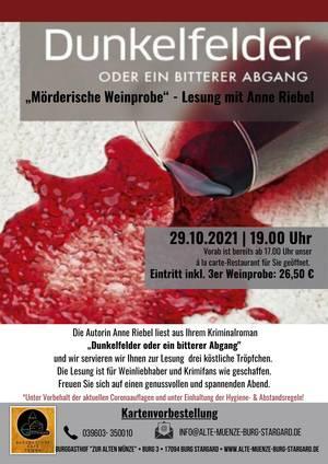 Mörderische Weinprobe - Lesung mit Anne Riebel